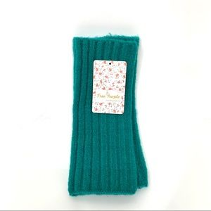 Free People Arm Warmer Fingerless Mittens New Nwt Teal Green Fall Winter Spring